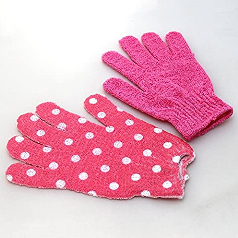 1 Pair Exfoliating Bath Scrub Shower Gloves for Bathroom Skin Face Body Wash Massage Loofah Spa