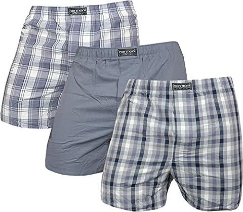 3 x Herren Web Boxershorts aus reiner Baumwolle Farbe Grau Größe S