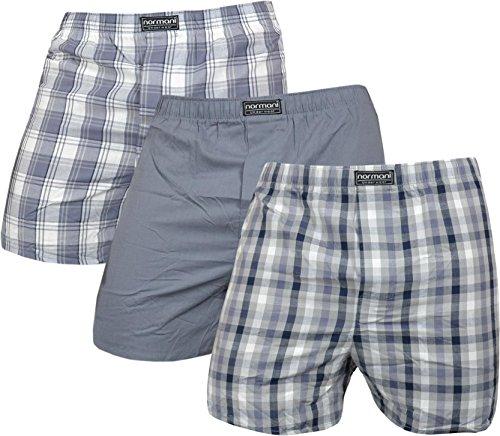 3-x-Herren-Web-Boxershorts-aus-reiner-Baumwolle-Farbe-Grau-Gre-XL