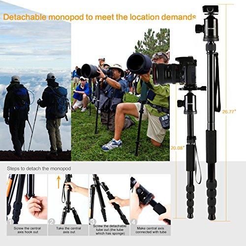 K&F Concept® TM2515 Reise Stativ Tripod Fotostativ Stativ für Canon mit 360? Kugelkopf und Einbeinsativ-Funktion 39-152cm