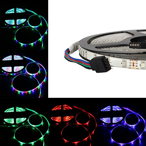 Allbuymall 16.4ft/5M SMD 3528 Wasserdichte Streifen,RGB Flexible Einstellbar Auswählbar LED Stripe,LED Lichtleisten,LED Band,LED Leisten Supper Lichtleistung 300 LEDs DC 12V 60 LEDs/m