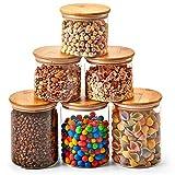 EZOWare 6er Set Glas Vorratsdosen, Vorratsgläser aus Borosilikatglas Küche Lebensmittel Lagerung Behälter mit Bambus Deckel - 900ml / 1400ml