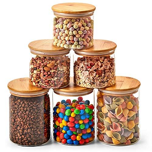 Ezoware set di 6 barattoli di vetro, contenitori per la conservazione degli alimenti con coperchio di legno bambù ermetico per tè caffè farina cereali fagioli, vetro borosilicato - 900ml / 1400ml