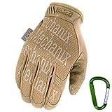 MECHANIX WEAR ORIGINAL Einsatz-Handschuhe, atmungsaktiv & abriebfest + Gear-Karabiner, Original Glove in Schwarz, Coyote, Multicam / Größe S, M, L, XL (L, Coyote)