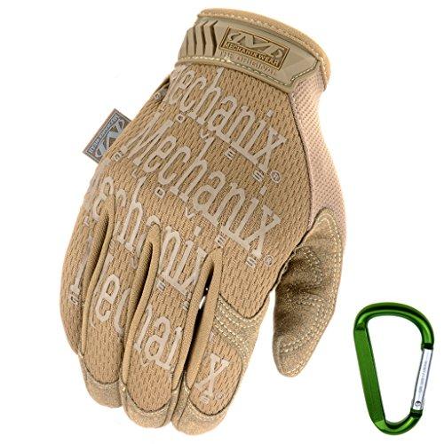 Mechanix WEAR ORIGINAL Einsatz-Handschuhe, atmungsaktiv & abriebfest + Gear-Karabiner, Original Glove in Schwarz, Coyote, Multicam/Größe S, M, L, XL (L, Coyote) -
