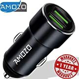 AMOZO 3A Dual Port Rapid Fast Car Charger - Metal Strong Body Shockproof Charger for Car - (Black)