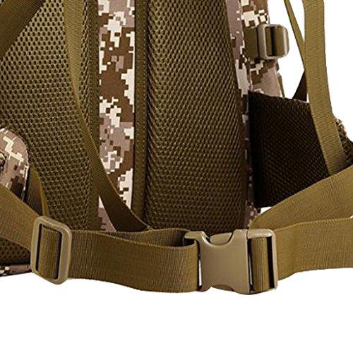 MagiDeal Wasserdichter Outdoor taktischer Rucksack Wanderrucksack Trekkingrucksack Reiserucksack mit großen Kapazität, 60L Sportrucksack Desert Camo