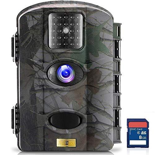 ARTITAN Cámara de Caza 12MP 720P HD Trail Cámara Impermeable IP65 con Infrarrojos PIR Sensor de Movimiento con Lapso de Tiempo 65ft Visión Nocturna de Caza para Hogar Caza (M330+8GB)