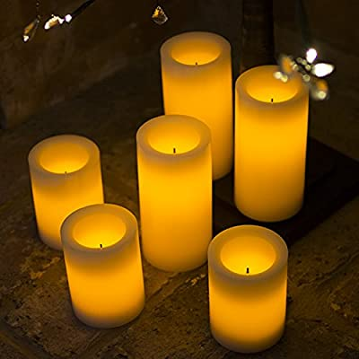 LED Flameless Candles - 6 x 6 INCH IVORY Battery Flickering LED Candles - Real Wax Pillar Battery Operated Flickering LED Candles - Cream / Ivory - WITH BUILT IN TIMER from Candle Impressions
