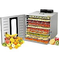 GCSJ 1000W Deshidratador Alimentos Temperatura Ajustable 30~90°C, Acero Inoxidable Completo, Temporizador de 24 horas, 10 Pisos Deshidratadora de Frutas, bpa free (Manual de Español)