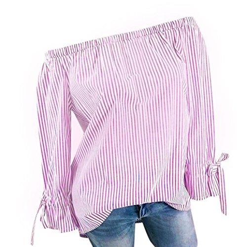 BHYDRY Womens Fashion Langarm Bluse Streifen Drucken Sexy Shirts Schulterfrei Tops (S,Rosa)