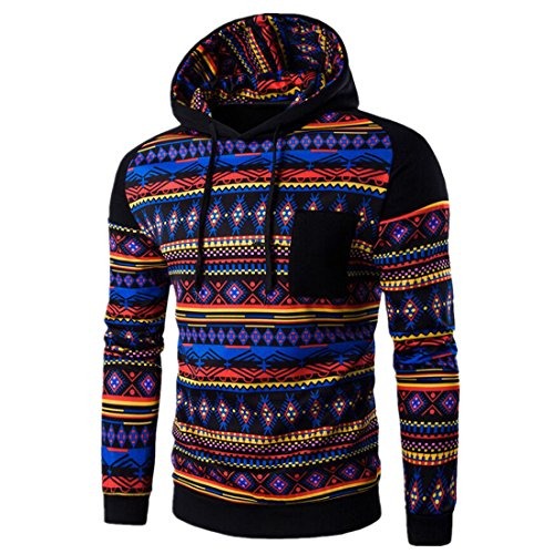 Sannysis Herren Bohemian Retro Langarm-Kapuzenshirt mit Kapuze Sweatshirt-Jacken-Mantel(M, Schwarz) (Tommy Herren-creme Hilfiger)