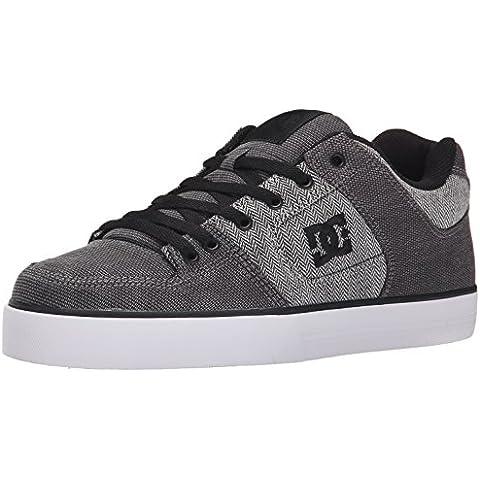 DC Men's Pure TX SE Skate Shoe, Grey/Grey/White, 10 M US