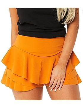 Faldas de volantes con volantes en capas para mujer Juleya Faldas cortas de cintura alta con tirantes