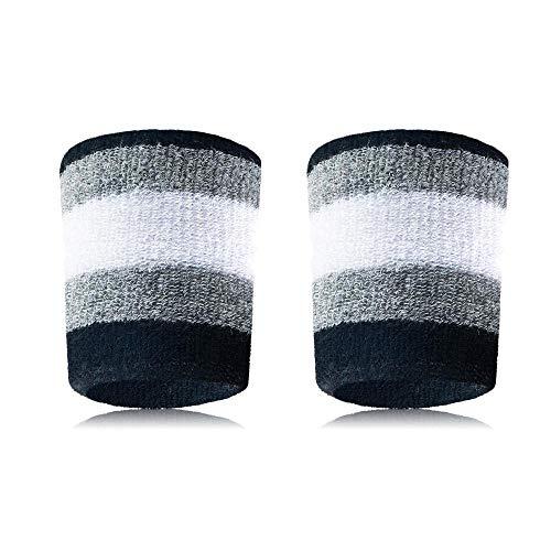 Set mit 2 Handgelenkbändern, sportliches Handgelenk, aus Baumwolle, für Männer und Frauen, gut für Tennis, Basketball, Laufen, Sport, zum Arbeiten grau