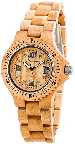 <strong>REDUZIERT:</strong> PREMIUM Holz-Uhr TENSE Mens Compass (made in Canada) - Ahornholz