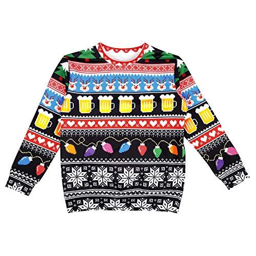 Ruanyi Weihnachten Anime Kostüm Punk Hip Hop Hoodies Sweatshirts Tops Hosen Hosen Street Festival Bier Laternen Snowflake Kinder Pullover Zweiteiler (Color : No hat, Size : XS)