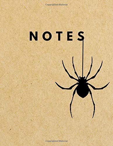 Notes: Graph Paper Notebook   SPIDER Brown Paper Soft Cover   1/4 inch squares   Large (8.5 x 11 inches) Letter Size   100 Square Grid Pages   Blank Quad Ruled Retro Notes - Quad Spider
