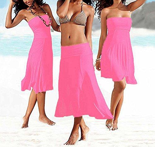 Donna Vestito Dalla Spiaggia Colore Puro Senza Maniche Femminile Bikini Copricostumi e Parei Pink