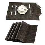 Pauwer Tischsets 4er Set mit Untersetzern Hitzebeständig Anti-Rutsch-Tischsets Waschbare Tischsets für den Esstisch (4 Tischsets und 4 Untersetzer,Braun)