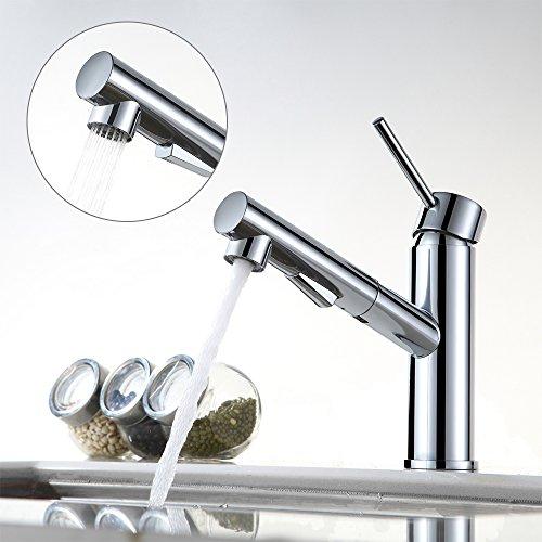 AMZdeals ausziehbar Küchenarmatur Chrom Wasserhahn Küche Mischbatterie Armatur Spülbecken Einhebelmischer Spültischarmatur mit Brause Spültischbatterie Küchenspüle