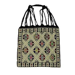 Einkaufstasche Boho schwarz San Andres; Handgewebt, Handtasche, HANDARBEIT, Tasche, Geschenkidee für Frauen