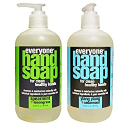 Everyone Botanical Spearmint and Lemongrass Hand Soap and Everyone Botanical Ylang Ylang and Cedarwood Hand Soap Bundle With Spearmint