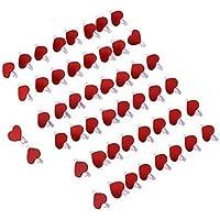 eBoot 50 Pack Mollette in Legno a Forma di Cuore Rosso, Mollette in Legno Cuore, Cuore Mollette di Legno, Mollette Cuore Legno, Rosso - Fili A Forma Di Cuore