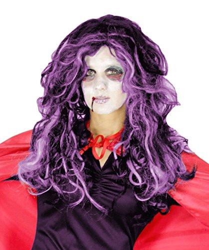 rz gelockte Hexen Perücke mit lila Strähnen für Damen Halloween Karneval Party Hexe Vampir Gothic (Gothic Vampir Perücke)