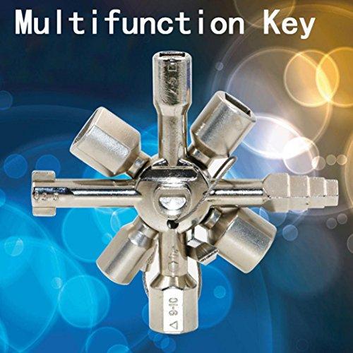 squarex 10in 1Multifunktions Elektriker Klempner Utility Kreuz-Schalter Schlüssel Schlüssel, damen, silber, AS Show
