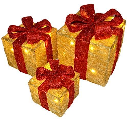 3er Set Beleuchtet LED Weihnachten Ausstattung Geschenkboxen Festlich Weihnachten Baumdekoration - Gold mit Rote Schleife - Geschenkboxen Beleuchtete Weihnachten