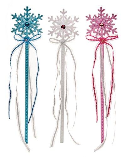 Packung von 3 - 37cm Glitzer Schneeflocke Stäbchen mit Quasten - 1 Weiß, 1 Rosa, 1 Blau - Prinzessin Party - Weihnachten Fancy (Fee Schneeflocken Zauberstab)