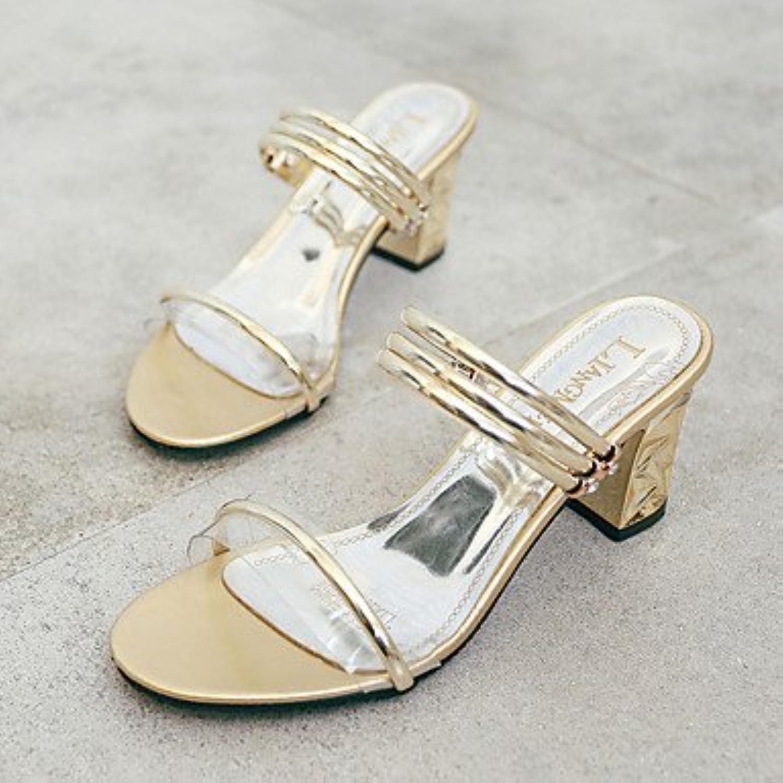 Las mujeres 039 s sandalias de luz luz casual verano PU Soles Soles hebilla Chunky talón Plata Oro 1A-1 3 4inGoldUS6.5...