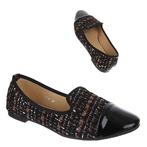 Chaussures pour femme, ZT, halbschuhe élégant Chaussons Noir - Black - Schwarz Braun
