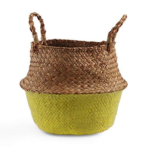 Aufbewahrungskörbe Wäsche Seagrass Körbe Wicker Hängende Blumentopf Körbe Aufbewahrung Flower Home Pot Panier Osier Korb für Spielzeug Yellow 22cmX20cm -