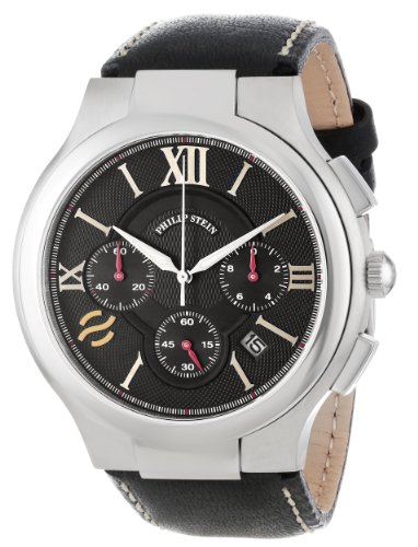 Philip Stein Men's 45-CRBK-CSTB Round Black Chronograph Dial Black Stitched Calf Strap Watch
