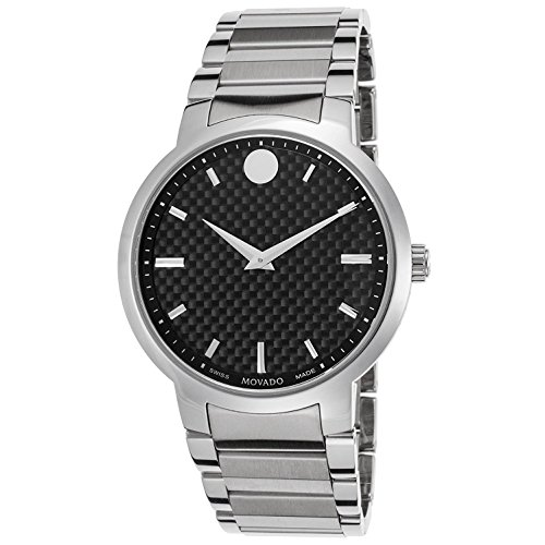 MOVADO WOMEN'S 42MM STEEL BRACELET & CASE QUARTZ BLACK DIAL WATCH 606838
