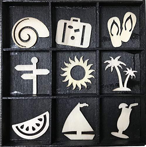 Craft Sensations Dekorative Holz Miniaturfiguren, Reisen und Urlaub, Packung mit 36, 9 Designs - Box Unfinished Holz Handwerk