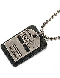 Daesar Joyería Collar Colgante Acero Mujer Hombre, Placa Nombre Militar Colgante Dog Tag con Bola Cadena, Tamaño 30x45mm