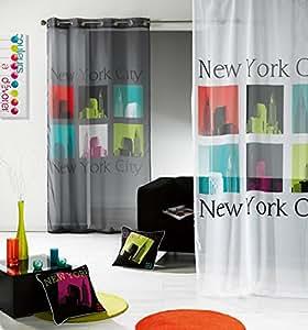 Douceur d'Intérieur Panneau Oeillet Voile Imprimé Urban Pop Multicolore/Blanc 140 x 240 cm