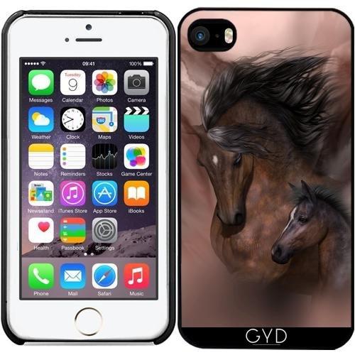 Leder Flip Case Tasche Hülle für Apple iPhone 4/4S - Mutter Und Kind by Illu-Pic.-A.T.Art Starre Kunststoff