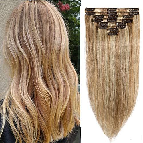 Clip extension capelli veri lisci 8 fasce/pack piena testa allungamento 70g 50cm #12p613 marrone dorato & biondo sbiancante
