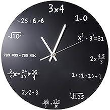Creative Mathematik Tafel Pop Quiz Uhr Schwarz Pulverbeschichtetem Metall  Wanduhren UK Tischuhren Große Dekorative Wanduhr Spiegel