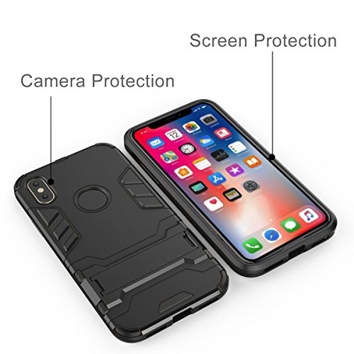 iPhone X Hülle, iPhone X Case, Pasonomi [Outdoor] [Dual Layer] Ultra-dünne Schutzhülle mit Ständer für Apple iPhone X / iPhone 10 5.8 Zoll (Schwarz) Schwarz