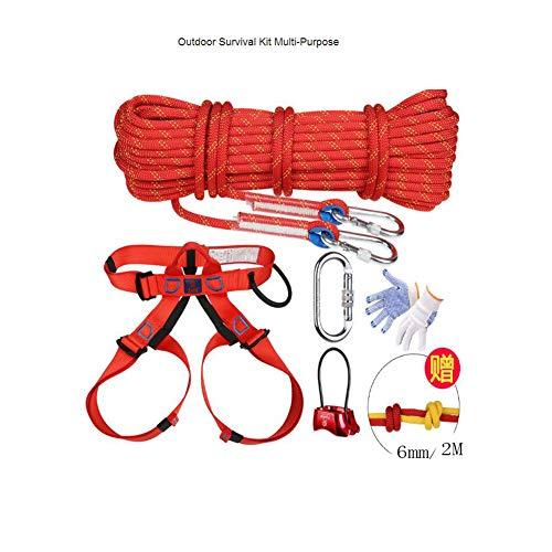 Outdoor Survival Kit Mehrzweck Notfall Ausrüstung Erste Hilfe Survival Gear Tool Kits Set Für Reisen Wandern Camping Sicherheit Seil Kletterseil ( Farbe : Rot , Größe : Diameter 10.5 mm/10 m kit )