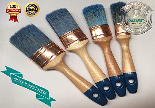 #PRO4, 4 Stück Kreide, und Farben auf Wasserbasis, OVAL, shabby chic, 4 Pinsel, kein Ausfallen der...