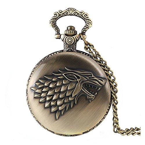 Reloj de cuarzo de bolsillo estilo retrovintage tipo bronce cepillado antiguo para hombre, con motivo del escudo de la casa Stark de Juego de Tronos, con cadena de 80cm para utilizar como collar 10