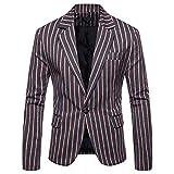 Zarupeng Mode Herren Gestreiften Anzug Langarm Revers Blazer Jacke Slim Casual Business Mantel Tops Bluse