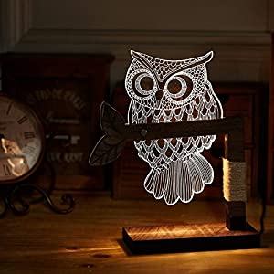 LED Dimmbar CITTATREND Tischleuchte - 3D Visual Acryl Eule Deco Holz Nachttischlampe - Warmweiß Nachtlicht - Geschenk für Kinderzimmer Schlarfzimmer
