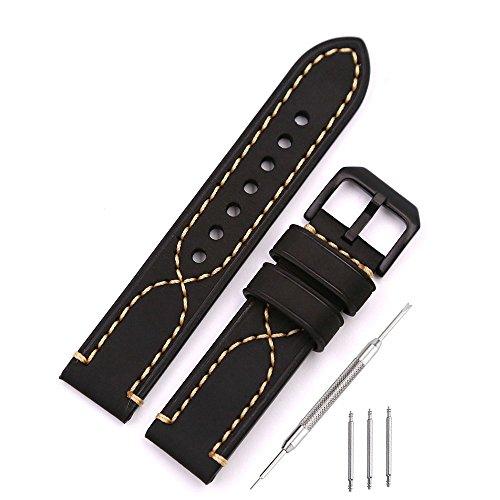 Uhrenarmband Vintage Echtleder Uhrenarmbänder Ersatz Armband für Outdoor Sport Uhren, Military Style Uhren, Retro Style Uhren 20mm Schwarz